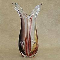 Art glass vase, 'Both Extremes' - Hand Blown Art Glass Decorative Vase from Brazil