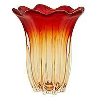 Art glass vase, 'Red Amber Flower' - Hand Blown Red and Yellow Art Glass Vase from Brazil