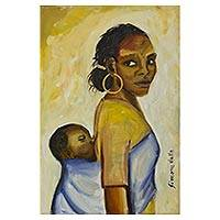 'Mother with Baby' - Brazil Original Signed Painting of a Mother and Child
