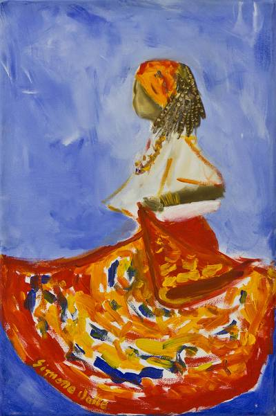 'Dancing Jongo' - Original Signed Painting of a Brazilian Jongo Dancer