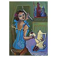 'Tea' - Original Signed Cubist Portrait of a Woman at Teatime