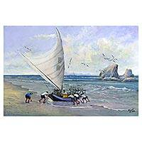 'Fishing Raft II' - Original Brazilian Seascape with Fishing Boats Painting