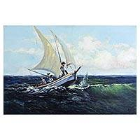 'Surging Surf' - Sailboat in Surging Waves Original Brazilian Painting