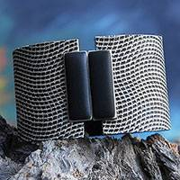 Textured wristband bracelet, 'Black Waves' - Textured Black and White Wristband Bracelet from Brazil
