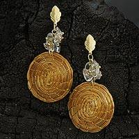 Gold accent golden grass and quartz dangle earrings, 'Golden Spirals' - Gold Accent Golden Grass and Quartz Dangle Earrings