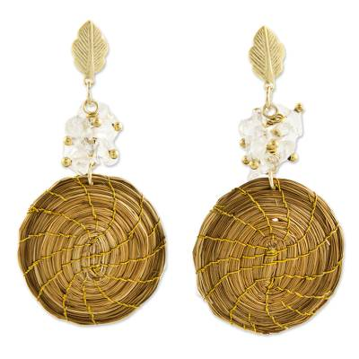 Gold Accent Golden Grass and Quartz Dangle Earrings