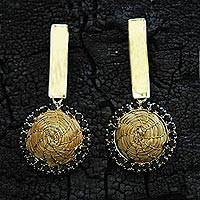 Gold plated golden grass dangle earrings, 'Golden Nights' - Handcrafted Golden Grass and 18k Gold Plated Earrings