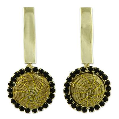 Handcrafted Golden Grass and 18k Gold Plated Earrings