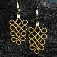Featured review for Gold plated golden grass dangle earrings, Grassy Paths