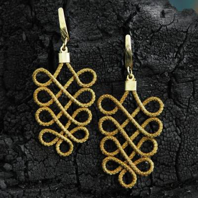 Gold plated golden grass dangle earrings, 'Grassy Paths' - Gold Plated Golden Grass Handmade Earrings from Brazil