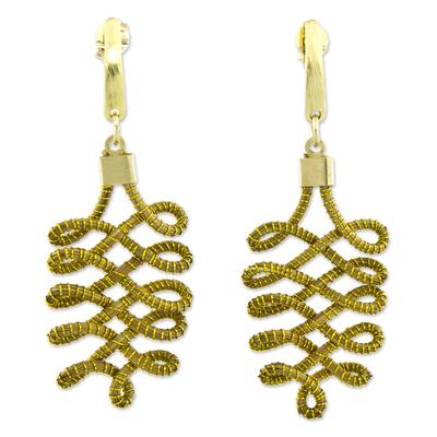 Gold Plated Golden Grass Handmade Earrings from Brazil