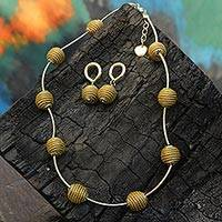Gold accent golden grass jewelry set, 'Golden Planets' - 18k Gold Accent Brazilian Golden Grass Necklace and Earrings
