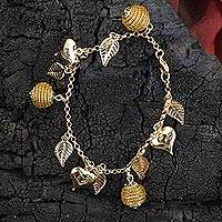 Gold plated golden grass heart charm bracelet, 'Natural Friend' - Heart Leaf Beehive Charms on Gold Plated Brazilian Bracelet