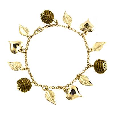 Heart Leaf Beehive Charms on Gold Plated Brazilian Bracelet