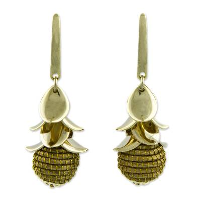 Hand Crafted Natural Golden Grass 18k Gold Plated Earrings