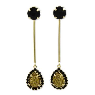 18k Gold Plated Golden Grass Long Earrings with Black Glass