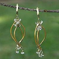 Gold plated golden grass and quartz chandelier earrings, 'Natural Chimes' - Handmade Golden Grass Chandelier Earrings with Clear Quartz