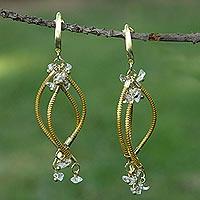 Gold plated golden grass and quartz chandelier earrings, 'Natural Chimes' - Handmade Golden Grass Chandelier Earrings with Clear Quartz