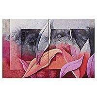 'Fascination' (diptych, 2015) - Set of 2 Original Paintings of Rosy Foliage from Brazil