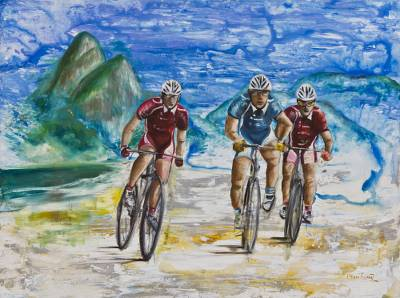 'Cyclists in Leblon' - Signed Oil Impressionist Painting of Cyclists from Brazil