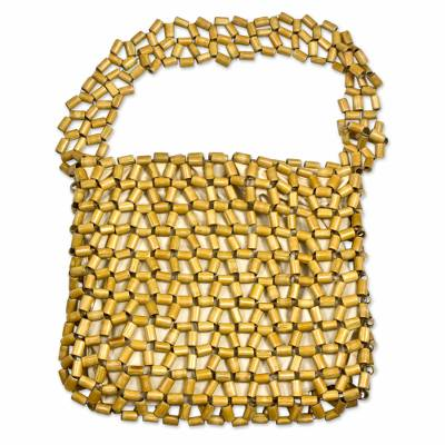Novica Bamboo accent shoulder bag, Lattice Connection