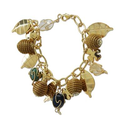 Gold Plated Agate and Citrine Charm Bracelet from Brazil
