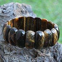 Tiger's eye beaded stretch bracelet, 'Glimmering Earth' - Faceted Tiger's Eye Beaded Stretch Bracelet from Brazil
