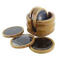 Agate and cedar wood coasters, 'Earthly Wisdom' (set of 6)