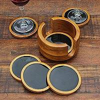 Agate and cedar wood coasters, 'Nocturnal Wisdom' (set of 6)
