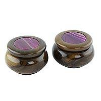 Agate and wood decorative boxes, 'Lilac Vibes' (pair)
