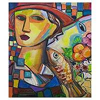 'The Lady in a Hat' - Original Signed Brazilian Cubist Painting of a Lady in a Hat