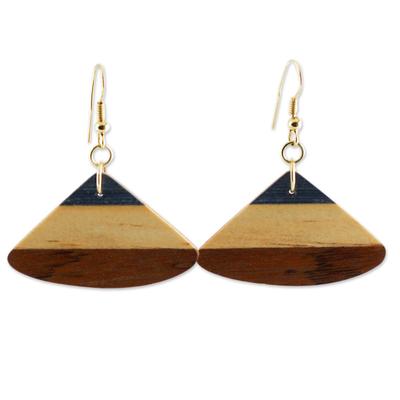 Wood dangle earrings, 'Forest Fan' - Handcrafted Wood Fan Shaped Dangle Earrings from Brazil