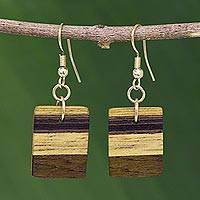 Wood dangle earrings, 'Forest Hues'