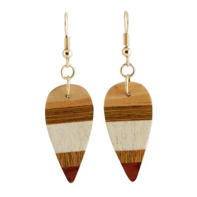 Wood dangle earrings, 'Woodland Leaves' - Striped Wood Dangle Earrings from Brazil