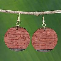 Mahogany earrings, 'Circle of Nature' - Mahogany and Imbuia Wood Round Dangle Earrings from Brazil