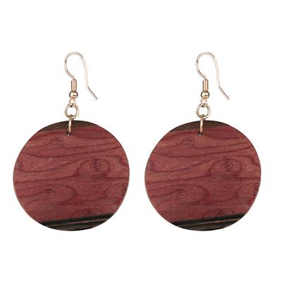 Mahogany and Imbuia Wood Round Dangle Earrings from Brazil