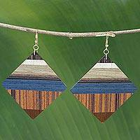 Wood dangle earrings, 'Woodland Diamonds'