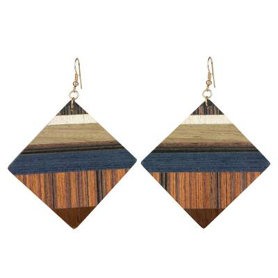 Wood dangle earrings, 'Woodland Diamonds' - Wood Square Shaped Dangle Earrings from Brazil
