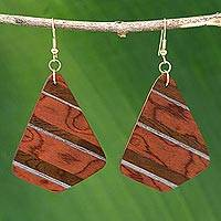 Wood dangle earrings, 'Woodland Stripes' - Handcrafted Wood Striped Dangle Earrings form Brazil