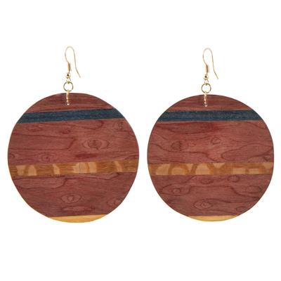 Wood dangle earrings, 'Rugged Beauty' - Handmade Striped Wood Dangle Earrings from Brazil