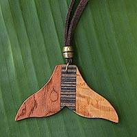 Wood pendant necklace, 'Mermaid Tail' - Handcrafted Wood Pendant Necklace from Brazil