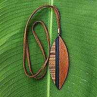 Wood pendant necklace, 'Jungle Beauty' - Long Brown Wood Pendant Necklace from Brazil