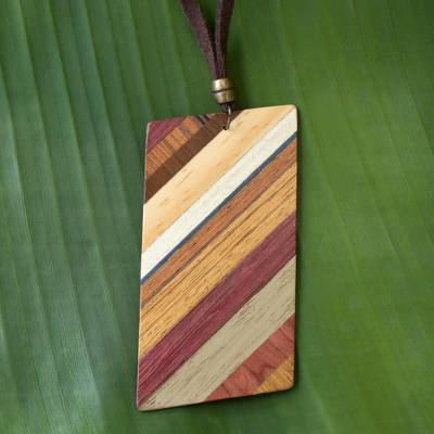 Wood pendant necklace, 'Distinguished Traveler' - Rectangular Wood Pendant Necklace by Brazilian Artisans