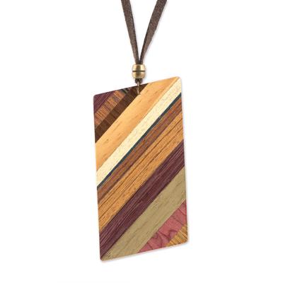 Wood pendant necklace, 'Distinguished Traveler' - Rectangular Wood Pendant Necklace by Brazilian Artisans