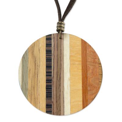 Wood pendant necklace, 'Circle Traveler' - Circular Wood Pendant Necklace from Brazil