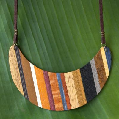 Wood pendant necklace, 'Striped Crescent Moon' - Crescent Shaped Wood Pendant Necklace from Brazil