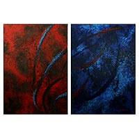 'Double Attraction' (diptych) - Red and Blue Signed Abstract Diptych Paintings from Brazil