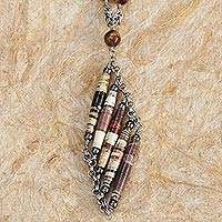 Tiger's eye and recycled paper pendant necklace, 'Eco Parallels' - Recycled Paper Tiger's Eye and Hematite Necklace from Brazil