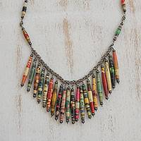 Hematite and recycled paper waterfall necklace, 'Eco Rainbow'