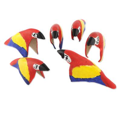 Leather ornaments, 'Colorful Parrots' (set of 6) - Set of Six Leather Parrot Ornaments from Brazil